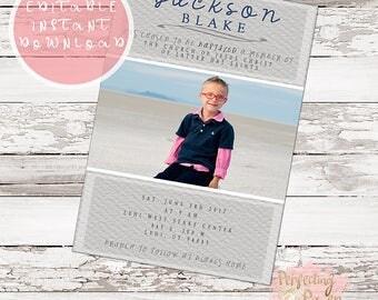 Modern gray textured lds boys baptism invitation template digital