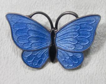 VOLMER BAHNER VB Denmark Sterling Silver Enamel Guilloche Butterfly Brooch Pin