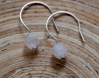 Rose Quartz Sterling Silver Earrings