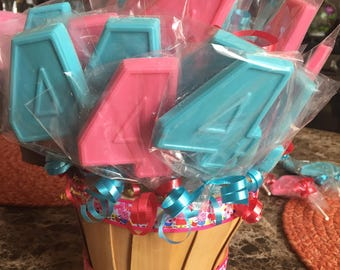 Number 4 Chocolate Lollipops (12 qty)