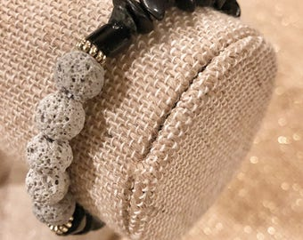Black Multi-Shaped Glass Beads - Lava Rock Bead Bracelet