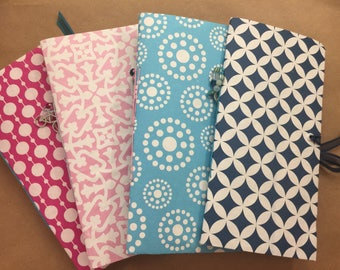 Hot Pink, Light Pink, Light Blue, Dark Blue Traveler's Notebook with Ribbon Enclosure, ephemera, scrapbook paper, Dear Lizzy paper, birthday