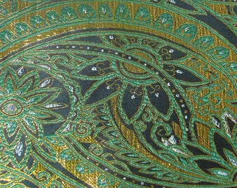 Clearance Sale Discount Metallic paisley on Dark Green Asian Chinese Brocade Fabric 29 inch W, By The Yard or Metres or Samples GP-224