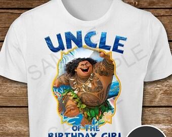 ON SALE 30% Moana Iron On Transfer. Moana Uncle of the Birthday Girl Iron On Transfer. Moana Uncle Shirt.