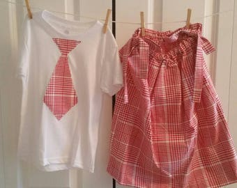 Brother/sister or twin matching set. T-shirt and dress.