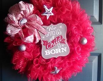 For Unto Us A Child is Born Wreath