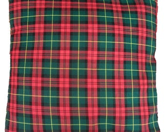 Green and Red Tartan Plaid Check Cushion Cover Various Sizes Available