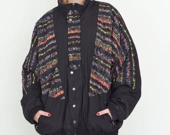 VINTAGE Black Colourful Stripes Shell Retro Jacket