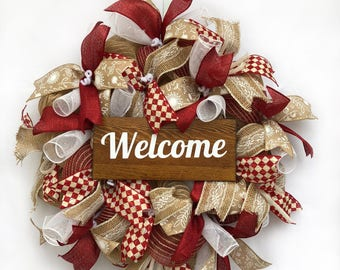 Rustic Welcome wreath in burlap and burgundy/dark red.  MISW005