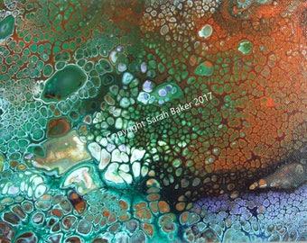 """8.75"""" x 11.75"""" original acrylic shallow canvas (Peacock 2)"""