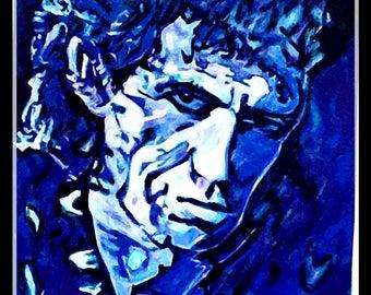 "Reyaz Nadi - Keith Richards ""BlackNBlue"" Acrylic on Canvas 48""x32"""