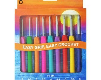 Pony Easy Grip Crochet Hook Set - 9 Hooks 2 - 6 mm