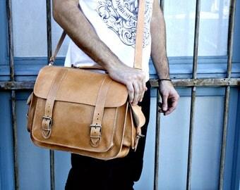 Leather Briefcase, Natural Leather, Gift For Men, Gift For Him, Leather Bag, Laptop Business Bag, Messenger Bag, men bag, Large bag, 310