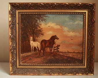 Antique Painting in Oil Wood Frame, Two Horses, Mid  Century