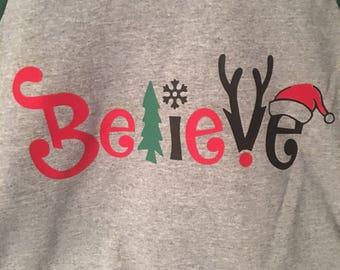 Believe-Christmas baseball tshirt