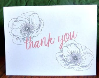 Hand Drawn Floral Thank You Cards