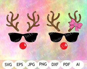 Reindeer Sunglasses SVG, Reindeer Printable, Digital Item, Instant Download