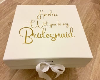 Will you be my bridesmaid personalised gift box/bridesmaid box/brudesmaid gift/wedding gift/custom bridesmaid gift/personalised wedding