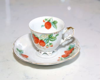 Occupied Japan Raspberry Teacup & Saucer by Ucagco
