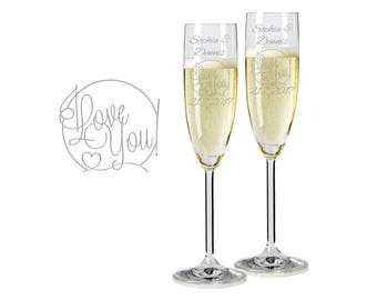 "2 Leonardo champagne glasses with personalized engraving ""I love You"" bride/groom with name and date engraved wedding gift"