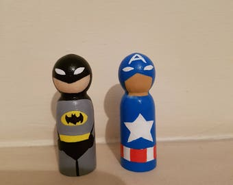 6cm super hero peg doll