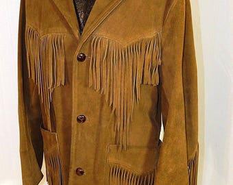 Vintage Men's Pioneer Wear Suede Leather Coat Size 40