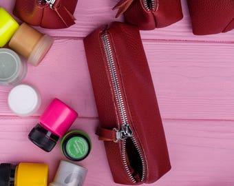Cosmetic bag Toiletry bag Leather cosmetic bag Makeup organizer Makeup storage Bridesmaid gift Brush holder Bridesmaid case Handmade