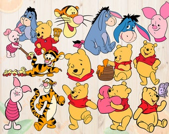 Winnie pooh Svg, Bundle Winnie pooh cut files, Dxf, Eps & Png, Winnie pooh for Cricut, Silhouette cameo, Clipart, eeyore svg, piglet svg