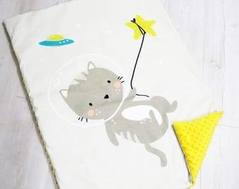 Minky Blanket, Cat Cosmonaut, Premium Blanket,Baby Minky Blanket,Pink Blanket,Baby Girls,Cot Pram Blanket, Baby Shower Gift, Nursery Bedding
