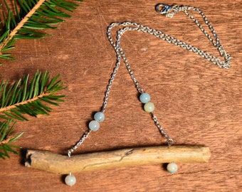 Raw wooden necklace, rustic necklace, ecofrindly necklace, ethnic wooden necklace, bohemian amazonite necklace, spirituality gift for her