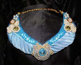 "Blue necklace with shobory ribbon and soutache ""Wings of Nefertiti"", Necklace Shibori, Necklace Soutache"