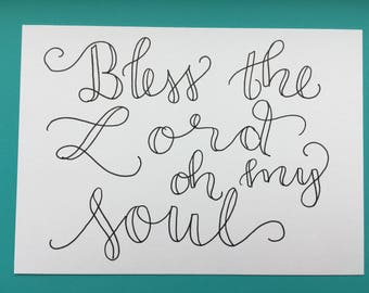 5x7 Hand-lettered Verse, Psalm 103:1, Bless the Lord oh my soul