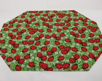 404 (2) Ladybugs Placemat Sets, Ladybugs Decor; Ladybugs Gift; Place Mats; Fabric Placemats; Cloth Placemats; Ladybug Lovers