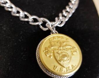 USMA * West Point * Cadet Long O Coat Uniform Button Charm Bracelet