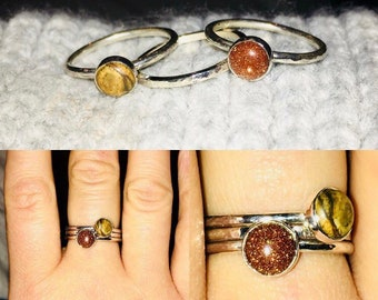 Brown Jasper and Goldstone Sterling Silver Stacking Ring Set