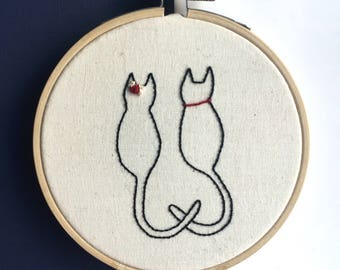 """Cats In Love // 4"""" Hand Made Embroidery Hoop"""