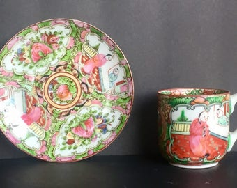 Ornate Vintage Hand-Painted Teacup and Saucer - China