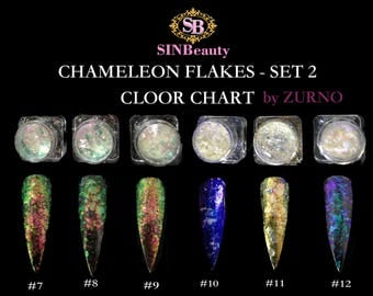 Chameleon Flakes Set #2- 6 Colors (2g each)  / Multi-Chrome Effects, DIY Nail Art- Professional Products