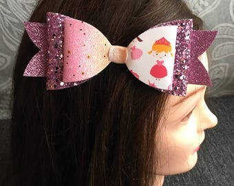 Handmade - Pink Sparkle Glitter Princess Bow - Pink Glitter Bow Luxury Party Bow
