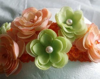 Orange Green Crochet Mesh Headband