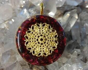 24k gold leaf and garnet Orgone pendant
