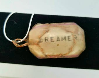 Dreamer Feather-Resin Encased  pendant Necklace