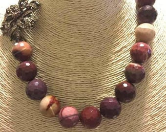 Nautral Mookaite large Necklace, 16mm Mookaite beads