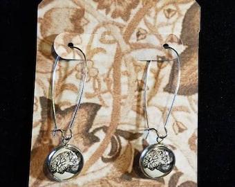 Silver Brain cabochon earrings