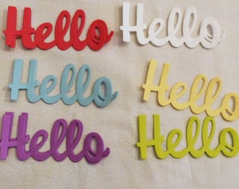 """Hello  Die Cuts, Set of 6 Hellos, Light green, Green, Orange, Yellow and Pink, Sizes 1.5"""" x 3.75"""". Made in the USA, #1"""