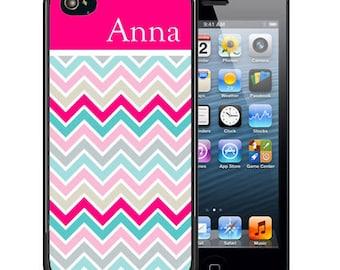 Personalized Rubber Case For iPhone X, 8, 8 plus, 7, 7 plus, 6s, 6s plus, 5, 5s, 5c, SE - Hot Pink Top Chevron