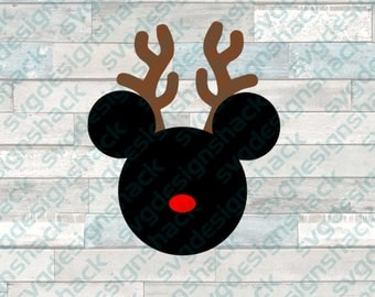 Mickey Reindeer Mouse Head SVG, DXF, EPS, Studio 3, Png