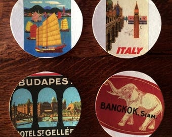 Vintage travel poster images on coasters