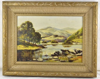 Original Oil Painting 20th Century Modern Landscape Impressionist Framed Vintage Seascape Rockies Mountain Canadian Art
