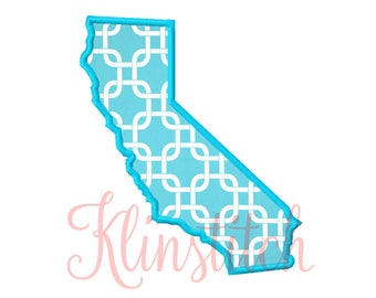 50% Sale!! California State Applique Designs 9 Sizes Embroidery Designs USA State Outline Embroidery PES Embroidery Designs